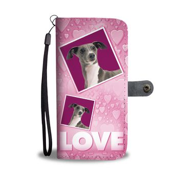 Italian Greyhound Dog with Love Print Wallet Case-Free Shipping