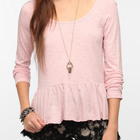 Urban Outfitters - Truly Madly Deeply Long-Sleeved Peplum Tee