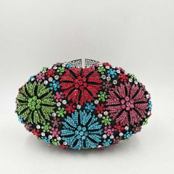 Colorful Floral Luxury Rhinestone Clutch
