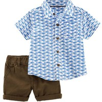 2-Piece Poplin Button-Front & Twill Short Set