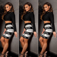 Black Long Sleeve Crop Top with Printed Bodycon Skirt