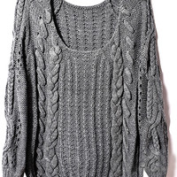 ROMWE   Cable Kintted Loose Grey Jumper, The Latest Street Fashion