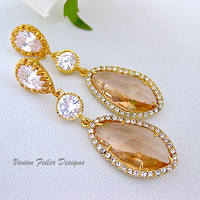 Champagne Wedding Earrings Gold Peach Bridal Jewelry Prom - Vivian Feiler Designs | Wedding Jewelry