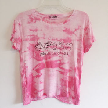 Animals Are Friends Shirt Tie Dye Crop Top Friends Not Food Tumblr Hipster 70s Vegan Brandy Melville