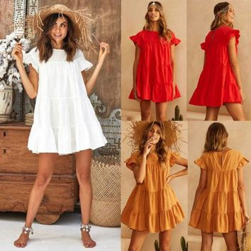 Fashion Summer Women Solid Color Short Sleeve Casual Beach Frill Bell Dress Round Neck Lace Loose Mini Dress Sundress