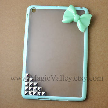 Mint Green iPad mini Case, iPad mini Cover, Green Bow iPad case with sliver studs, mini ipad case,case for mini ipad