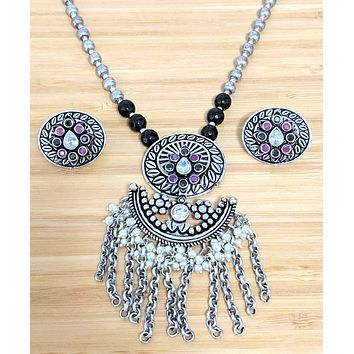 Unique link tassel hanging oval oxidized pendant with ball bead chain and stud earring set