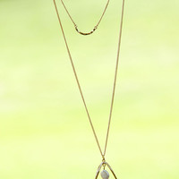 Center Of It All Gold Oval Layered Pendant Necklace