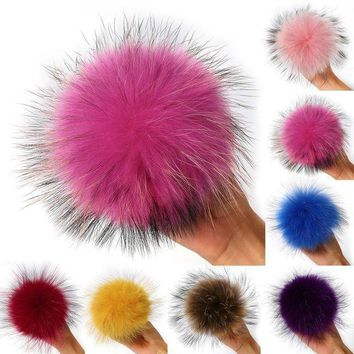 DCK7YE New Arrival Soft Raccoon Fur knitted hat cap beanies pompoms fur balls for keychain Pe