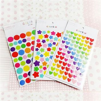 6 pcs colorized heart star paper sticker diy decoration sticker for album scrapbooking diary kawaii stationery