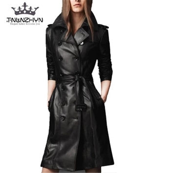 tnlnzhyn 2017Autumn Winter Women Leather Jacket double-breasted Coat pu faux leather Jacket Medium long Trench Coat Outwear Y378