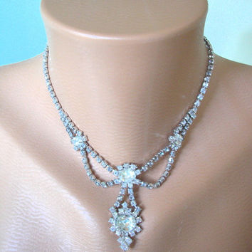 Great Gatsby Jewelry, Wedding Jewelry, Crystal Necklace, Diamante Choker, Rhinestone Necklace, Bridal Jewelry, Art Deco Jewelry, Downton