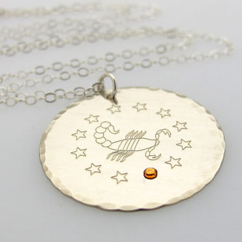 Zodiac Sterling Silver Pendant Necklace with Birthstone / Personalized Engraved Scorpio Sign Jewelry