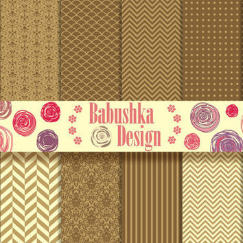 Brown & Gold paper pack - Set of 12 Digital Scrapbook Paper - 12 x 12 inches