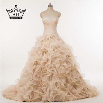Pink Ruffles photography Corset Beading wedding dress Ball Gown Ruffles wedding dress