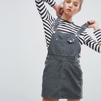 ASOS Cord Overall Dress in Washed Khaki at asos.com