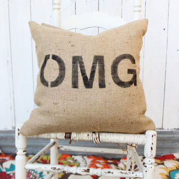 OMG Burlap & Chevron 18 Pillow Hand Painted by MySwallowsNest