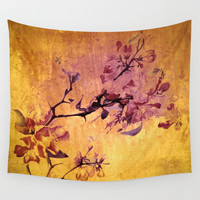 japanese crab apple flowers on golden tones Wall Tapestry by clemm