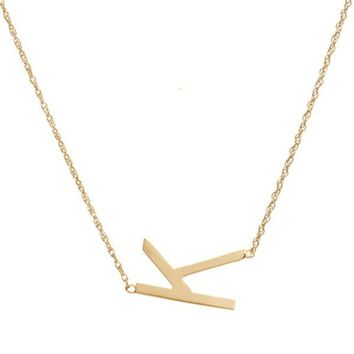 Metal Sideways Letter Necklace