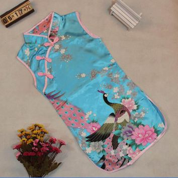 Fashion Summer Style Kids Baby Girls Peacock Dress Cheongsam Chinese Qipao Floral Pattern Dresses