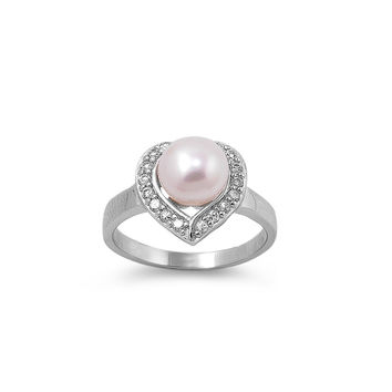 925 Sterling Silver CZ Love Cultured Pearl Ring
