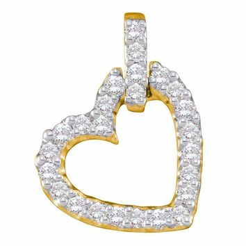 14kt Yellow Gold Women's Round Diamond Small Dangling Heart Love Pendant 1-4 Cttw - FREE Shipping (US/CAN)