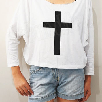 Jesus Shirts Black Inverted Cross Shirts Symbol Shirts Bat Sleeve Shirt Crop Long Sleeve Shirts Oversized Sweatshirt Women Shirt - FREE SIZE
