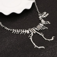 Sexy Long Necklace Gothic Tyrannosaurus Rex Skeleton Dinosaur Pendant Charm Necklace Dragon Bone Alloy Collares Silver Jewelry