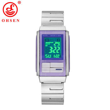 OHSEN New Women Sport Watches LED Electronic Digital Watch Waterproof Outdoor Sport Stainless Steel Auto Date Wristwatch AD1703