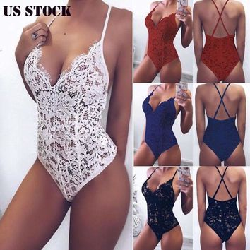 US Women Lace Bodysuit Sexy Backless Jumpsuit Sleeveless Lingerie Leotard New ##