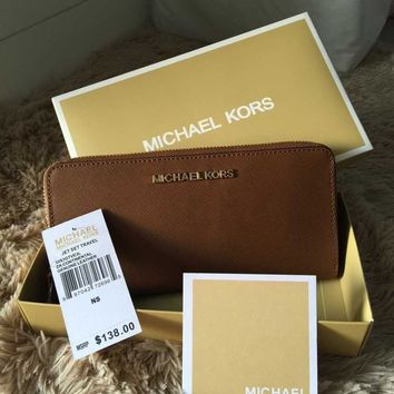 Genuine Michael Kors Saffiano Leather Jet Set Travel Purse luggage Wallet sales