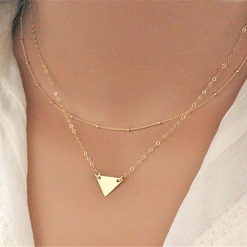 Sequins Multilayer Fashion Triangle Necklace