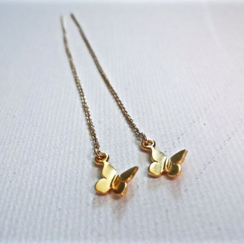Micro Gold Vermeil Butterfly Threader 14k Gold Fill Earrings; Quirky Delicate Charm Gold Butterfly Earrings; Unique Gift Idea for Her