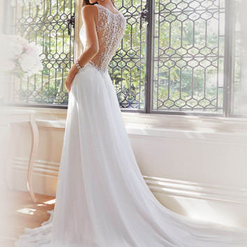Chiffon Backless Deep V Collar Princess Bride Wedding Dress