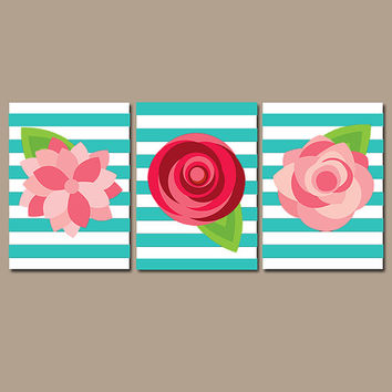 Preppy Flower Wall Art Artwork ROSES Red Pink Turquoise White Stripes Nursery Floral Wedding Bouquet Dahlia Set of 3 Prints Bathroom Three