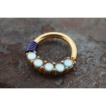 Glowing Light Blue Stone Gold Daith Rook Cartilage Tragus Septum Hoop Earring
