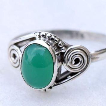 Green stone , silver ring, stone ring,92.5 sterling silver,silver green onyx ring,Natural  Green onyx  stone Silver Ring, RNSLGO5