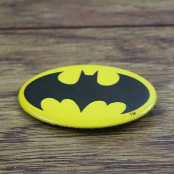 Vintage BATMAN Button Pin. c. 1964 Pinback Button. Button Collection. DC COMICS Pin.  Oval Button Pins. Pin Collections. Super Hero Button