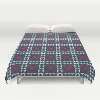 Hand-drawn Abstract Patchwork  Duvet Cover by DAWdesigns