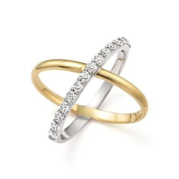 """KC Designs Diamond """"X"""" Ring in 14K Yellow and White Gold 