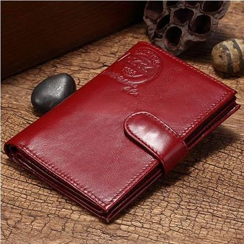 Women Genuine Leather Trifold Wallet