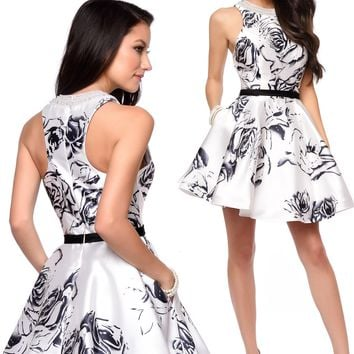 Lucci Lu 8124 Racerback Floral Short Dress