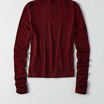 Don't Ask Why Ribbed Turtleneck, Burgundy