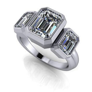 Three Stone Bezel Set Emerald Cut Engagement Ring - Celestial Premier Moissanite Ring - Customize