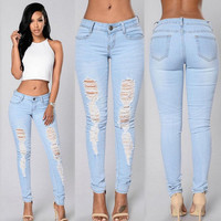 Women Denim Skinny Ripped Pants High Waist Stretchy Jeans Slim Pencil Trousers