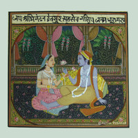 Radha Krishna Love Scene Rajasthani Miniature Wall Art Painting on Old Paper