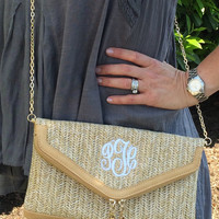 Monogramed Woven Natural Clutch Cross Body Purse  Font shown MASTER CIRCLE in white