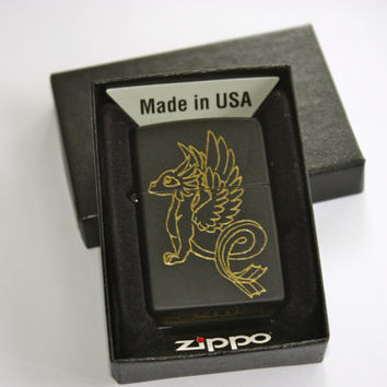 Black and Gold Winged Sea Dragon Zippo Lighter