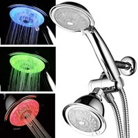 PowerSpa 7-Color 24-Setting LED Shower Head Combo with Air Jet LED