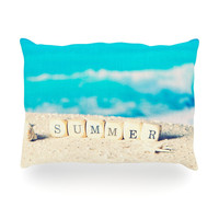 "Monika Strigel ""Summer at the Beach"" Blue Coastal Oblong Pillow"